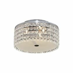 Hampton Bay 11 in. 3-Light Chrome Flush mount with Glass Accents