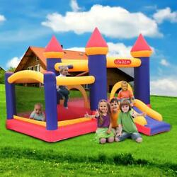 Inflatable Bounce House 2 Activity Rooms Kids Slide Jump Castle with Air Blower