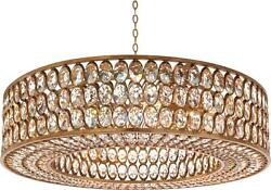 PENDANT JOHN-RICHARD TRANSITIONAL 8-LIGHT GOLD LEAF METAL FACETED CRYSTA