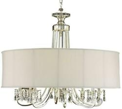 CHANDELIER JOHN-RICHARD 8-LIGHT SILVER NEW OYSTER WHITE DIRECT WIRE B CANDE