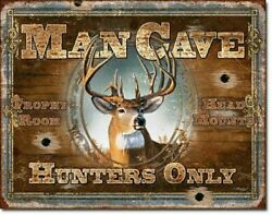 Man Cave HUNTERS ONLY Metal Tin Sign Picture Deer Buck Hunting Cabin Decor Gift