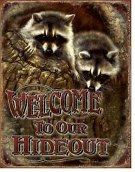 Raccoon Welcome Picture Metal Sign Wildlife Cabin Lodge Home Wall Art Decor Gift