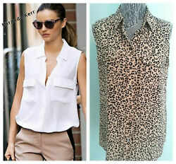 Equipment Femme Women's Leopard MED ShirtBlouse 100% SILK