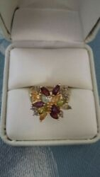 Excellent Classy Gold Color Amethyst Aquamarine Citrine and Peridot Gemstone