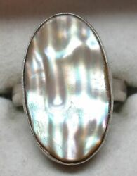 Vintage STERLING SILVER Chunky Western MOTHER OF PEARL Ring (SIZE: 7) - GORGEOUS