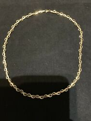 9CT YELLOW GOLD FANCY LINK CHAIN.