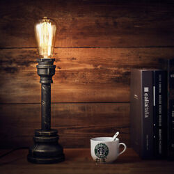 Antique Industrial Water Pipe Table Lamp Indoor Study Office Desk Light Plug in $34.99