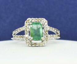 $2199 SOLID 14k White Gold 1.00ctw Genuine Colombian Emerald & H-SI Diamond Ring