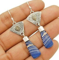 Two Tone  Azurite 925 Solid Sterling Silver Earrings Jewelry C16-4