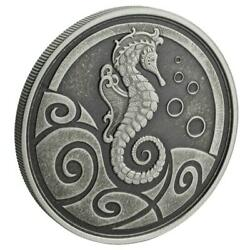 2019 1 oz Samoa Seahorse Antiqued Finish .999 Silver Coin BU #A459