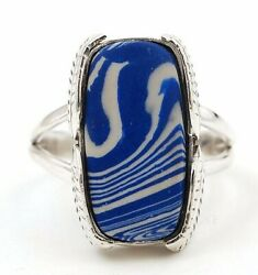 Leaf- Azurite 925 Solid Sterling Silver Ring Jewelry Sz 9 C12-4
