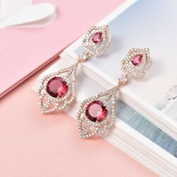 New Vintage Design Charms Red Garnet Crystal Women Yellow Gold Drop Earrings