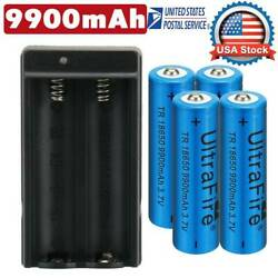 4PC UltraFire 18650 9900mAh Battery 3.7v Li-ion Rechargeable Batteries + Charger