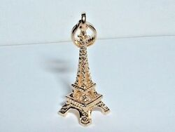14k YELLOW GOLD 3D PARIS EIFFEL TOWER PENDANT CHARM