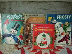 LOT OF 4 VINTAGE Little Golden Book FROSTY THE SNOWMAN ANIMALS CHRISTMAS EVE