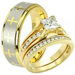 His TUNGSTEN Cross Band & Hers Yellow Gold Plated Engagement Wedding CZ Ring Set