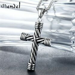 MENDEL Mens Womens Gothic Stainless Steel Cross Pendant Necklace For Men Women