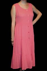 M  Vtg 80s Cotton Gauze Dress India BohoTiered Coral Pink MIDI Maxi SUN BEACH