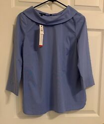 Nwt Talbots Women Blue Stretch Poplin Audrey Collar Blouse Size S