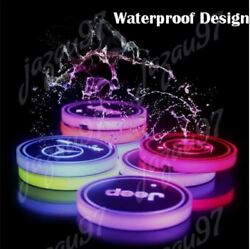 2PCS New Car Logo Switchable 7 Color LED Cup Holder Mat Coaster Pad for All cars