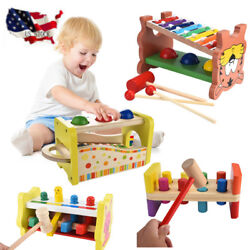 Kid Wooden Hammering Pounding Toys + 8 Notes Xylophone + Shape Color Recognition