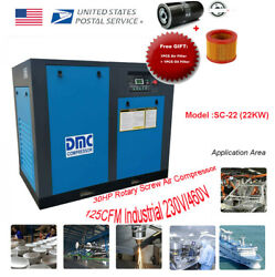 HPDMC 30HP22KW Rotary Screw Air Compressor 3600RPM 125CFM 3Ph 230V460V 125PSI