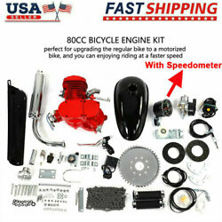 2 Stroke 80cc Gas Bike Engine Motor Kit DIY Motorized Bicycle with Speedometer