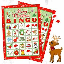 Christmas Party Bingo Game Paper Cards Gift for Large Group 32 Kid Adult Player