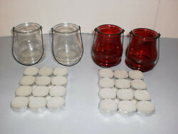 4 Interior By Design Glass Candle Lanterns 2 Clear 2 Red amp; 24 Tea Candles 92319 $4.99