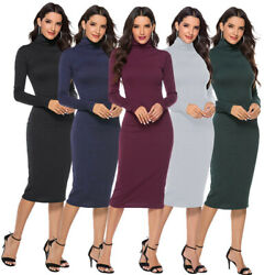 Women Knit Bodycon Sweater Dress Long Sleeve Turtleneck Slim Long Pencil Dresses