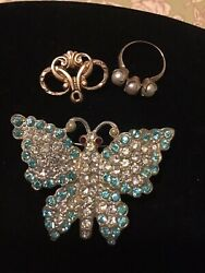 Vintage Art Deco Rhinestone Butterfly Pin&Ring Lot
