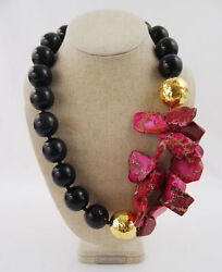 Nest Women's Gold Plated Pink Agate Coated Wood Bead Statement Necklace