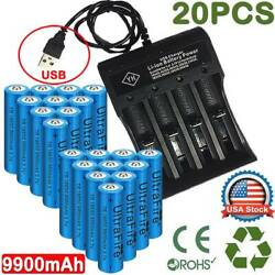 20X UltraFire 18650 9900mAh Battery 3.7V Li-ion Rechargeable Batteries Chargers