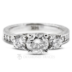 3ct G SI2 Round Cut Natural Certified Diamonds 950 Plat. Classic Engagement Ring