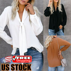 Women V Neck Bow Tie Tops Ladies Long Sleeve Chiffon T-Shirt Loose Solid Blouse