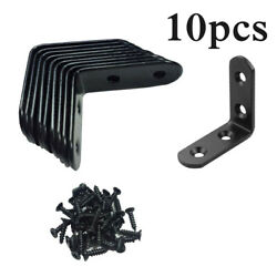 10pcs Metal Corner Braces Brackets Right Angle L Shape Ron Brace Bracket Black