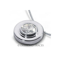 1.29ct D-VS2 Round Cut Earth Mined Certified Diamond 18k Gold Solitaire Pendant