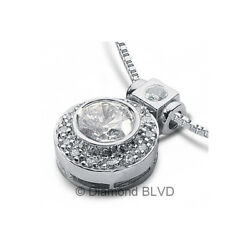 1.62ct tw ESI1 Round Cut Earth Mined Certified Diamonds 18K Gold Halo Pendant