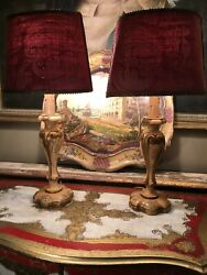 Pair Of Vintage Painted Italian Florentine Carved Wooden Lamps Refurbished GBP 250.00