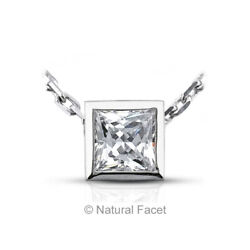 1.67ct GVS1 Princess Cut Natural Certified Diamond White Gold Solitaire Pendant