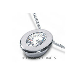 1 CTW D SI1 Oval Shape Earth Mined Certified Diamond 950 Plat. Solitaire Pendant