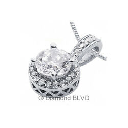 2.15ct tw FVS2 Round Cut Earth Mined Certified Diamonds 14K Gold Halo Pendant