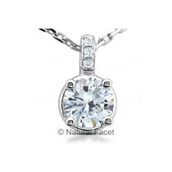 2.60ct GSI1 Round Cut Earth Mined Certified Diamonds White Gold Classic Pendant