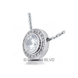 1.76ct tw G VS1 Round Cut Earth Mined Certified Diamonds 14K Gold Halo Pendant