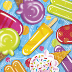 Popsicle Party 16 Luncheon Napkins Summer Pool Beach Party $2.99