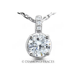 2.61 CTW D-SI2 Round Cut Earth Mined Certified Diamonds 18k Gold Classic Pendant