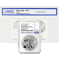 2019-S Enhanced Reverse Proof $1 American Silver Eagle  COA # NGC PF70 Blue ER