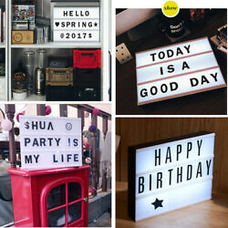 A4 Cinematic LED Light Box Letter Lamp Party Wedding Decor + 90 Cards Gifts