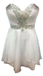 Beautiful White Cocktail prom Dress With Beading Size XS Excellent Condition $40.00