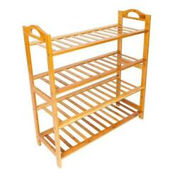 4 TIER NATURAL BAMBOO WOODEN SHOE RACK ORGANISER STAND STORAGE SHELF UNIT USA
